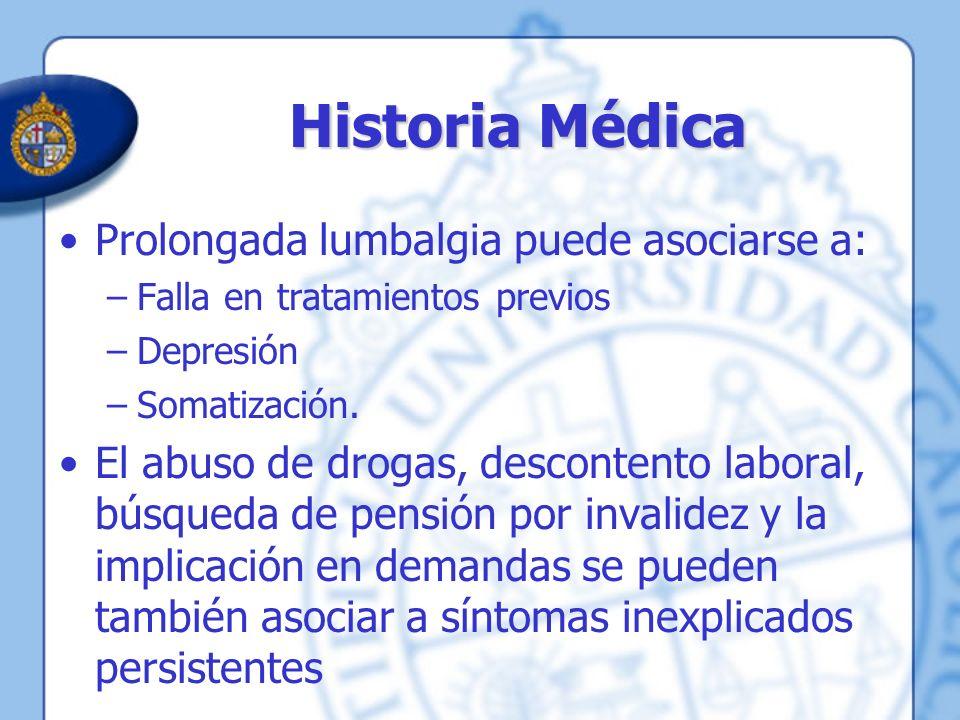 Historia Médica Prolongada lumbalgia puede asociarse a: