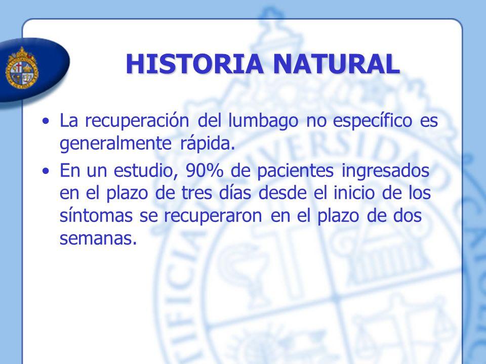 HISTORIA NATURAL La recuperación del lumbago no específico es generalmente rápida.