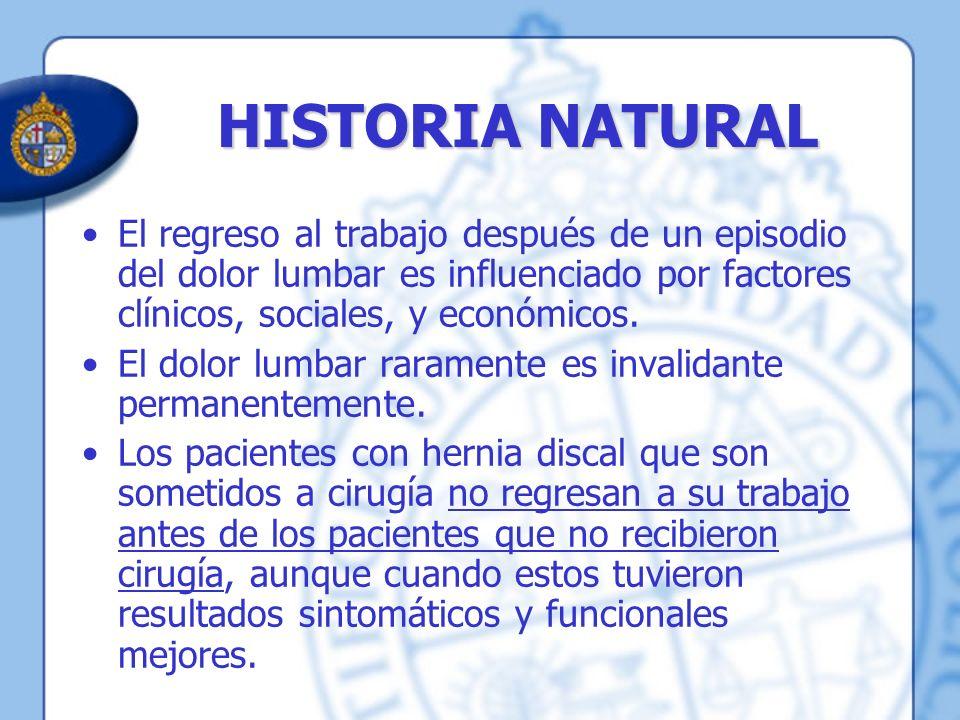 HISTORIA NATURAL El regreso al trabajo después de un episodio del dolor lumbar es influenciado por factores clínicos, sociales, y económicos.
