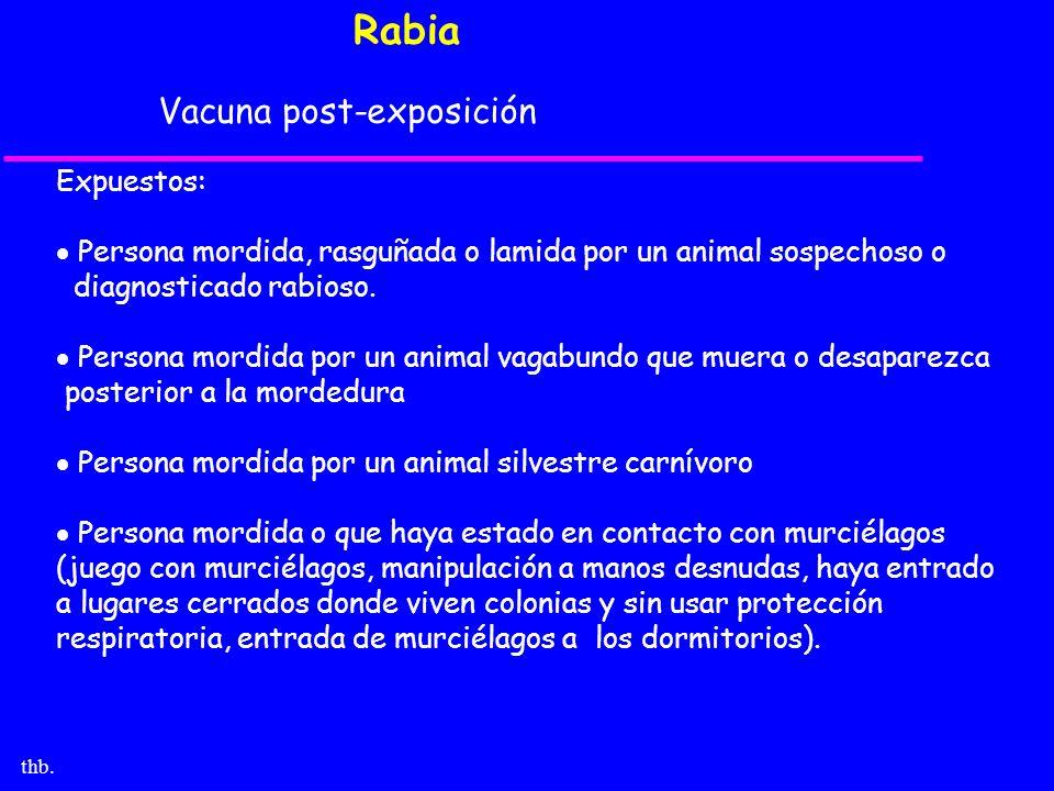 Rabia Vacuna post-exposición Expuestos: