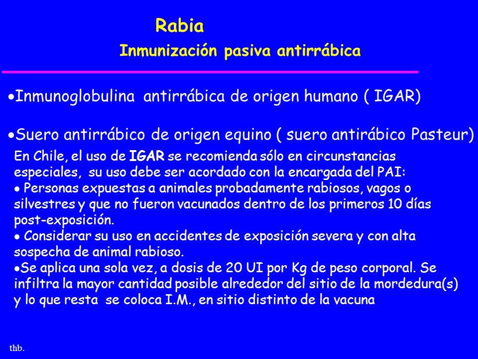 Rabia Inmunización pasiva antirrábica