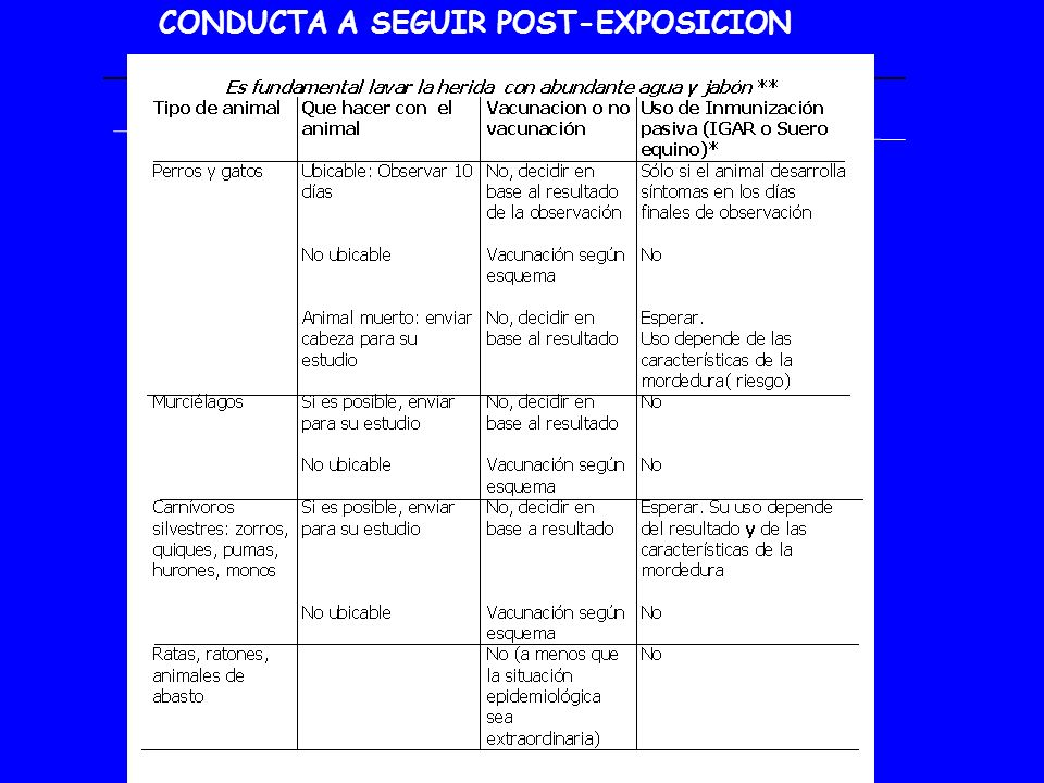 CONDUCTA A SEGUIR POST-EXPOSICION