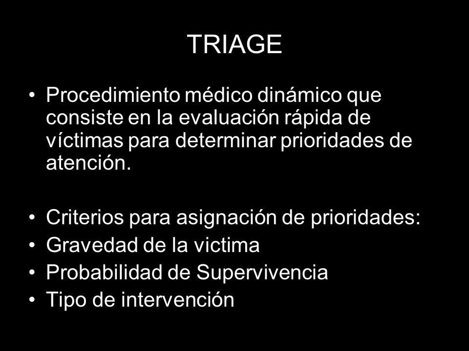 TRIAGE Procedimiento médico dinámico que consiste en la evaluación rápida de víctimas para determinar prioridades de atención.