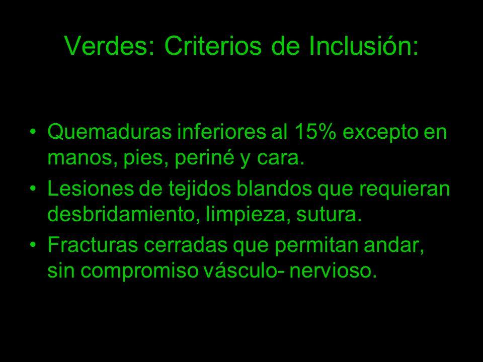 Verdes: Criterios de Inclusión: