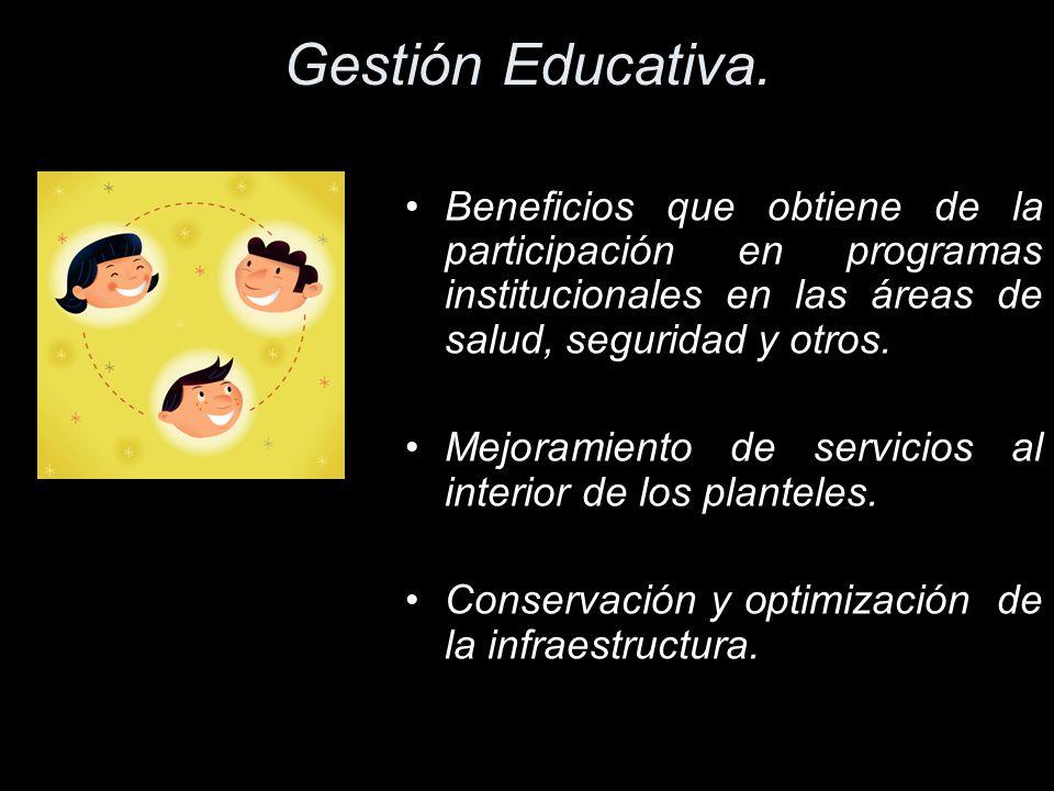 Gestión Educativa. Beneficios que obtiene de la participación en programas institucionales en las áreas de salud, seguridad y otros.