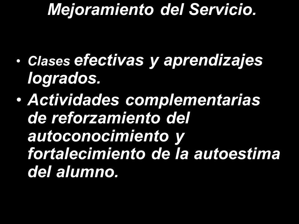 Mejoramiento del Servicio.