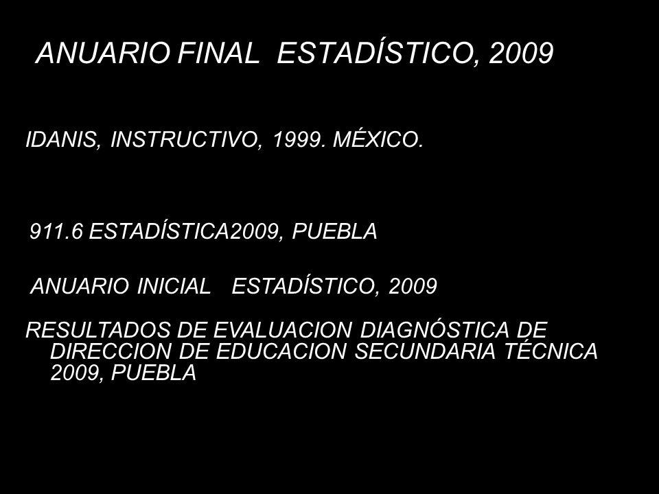 ANUARIO FINAL ESTADÍSTICO, 2009