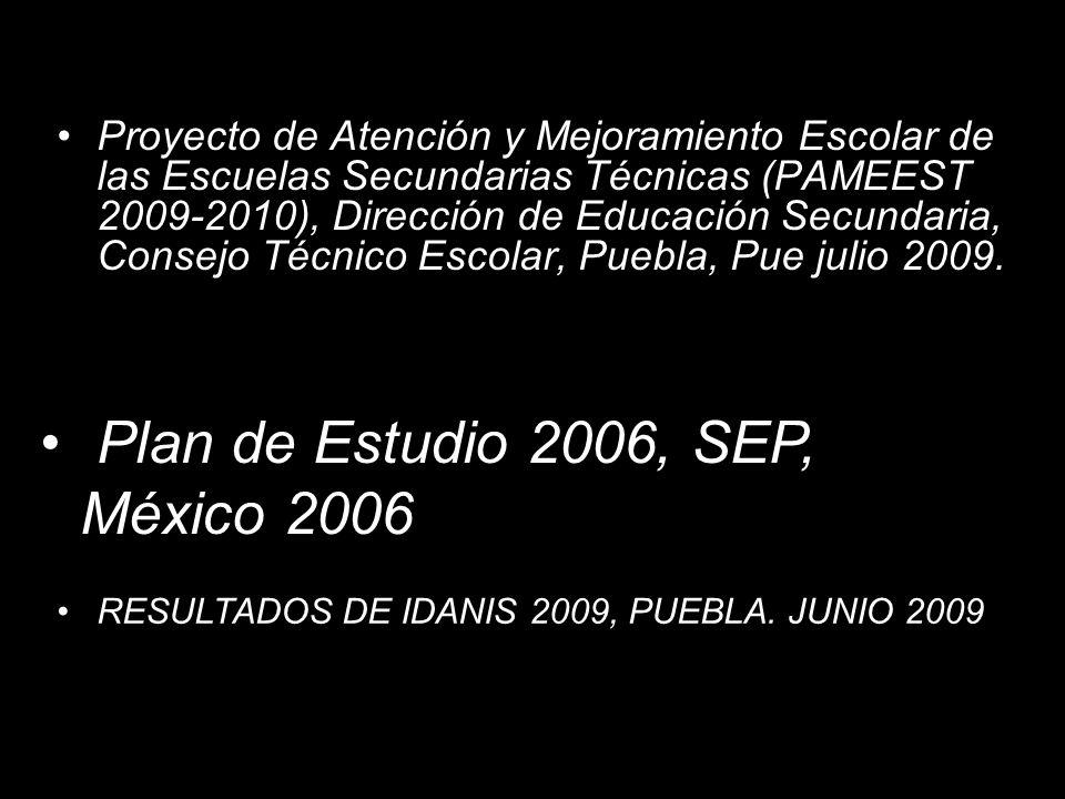 Plan de Estudio 2006, SEP, México 2006