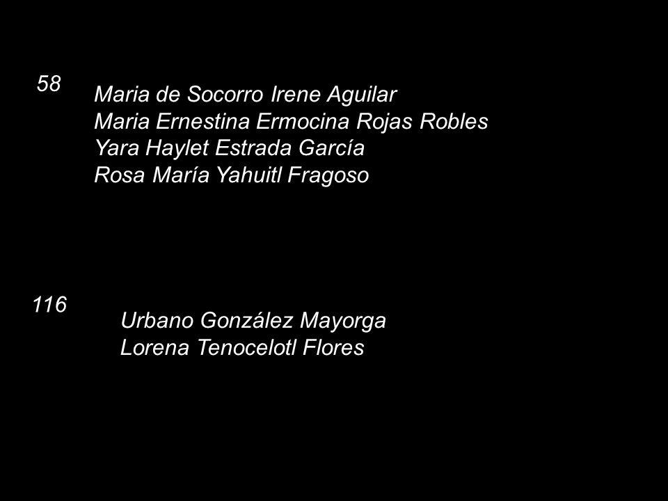 58 Maria de Socorro Irene Aguilar. Maria Ernestina Ermocina Rojas Robles. Yara Haylet Estrada García.