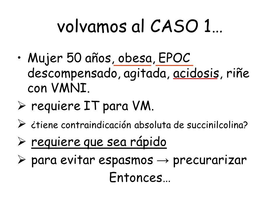 volvamos al CASO 1… Mujer 50 años, obesa, EPOC descompensado, agitada, acidosis, riñe con VMNI. requiere IT para VM.