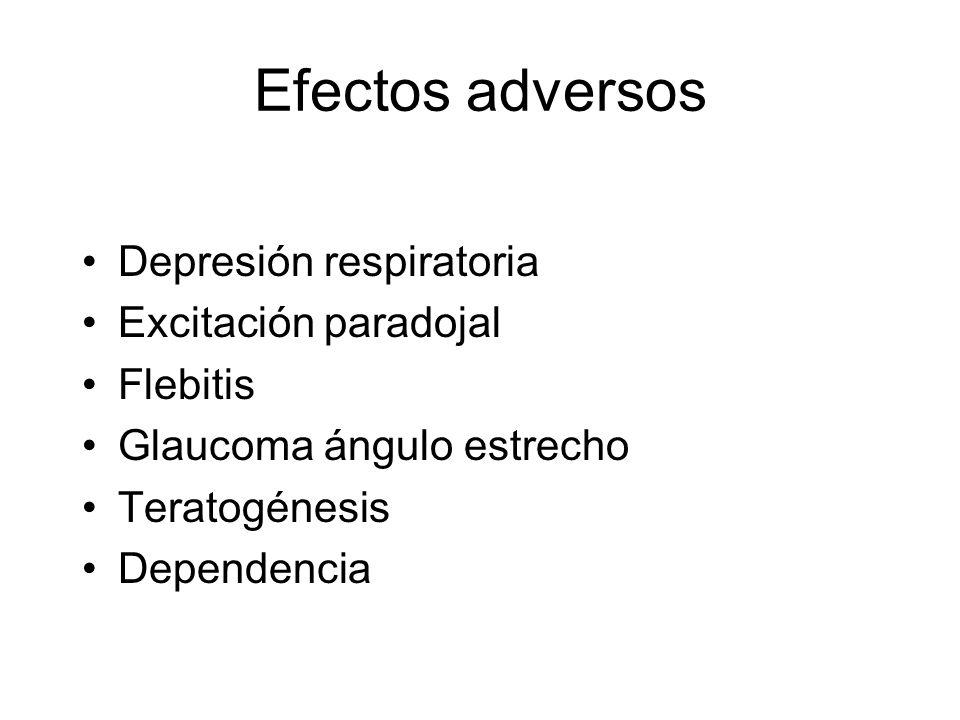 Efectos adversos Depresión respiratoria Excitación paradojal Flebitis