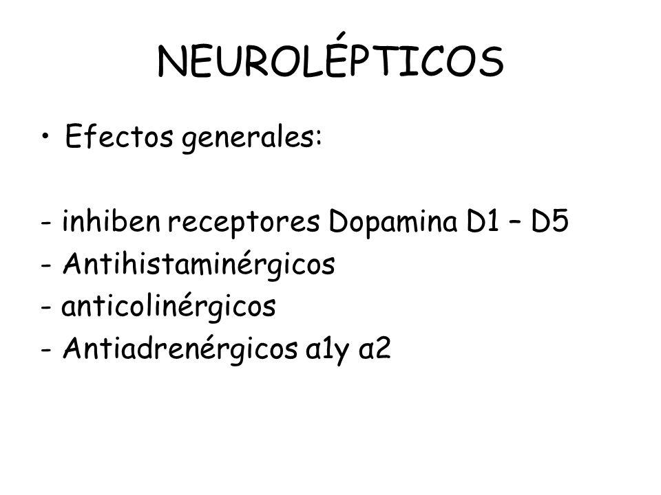 NEUROLÉPTICOS Efectos generales: - inhiben receptores Dopamina D1 – D5