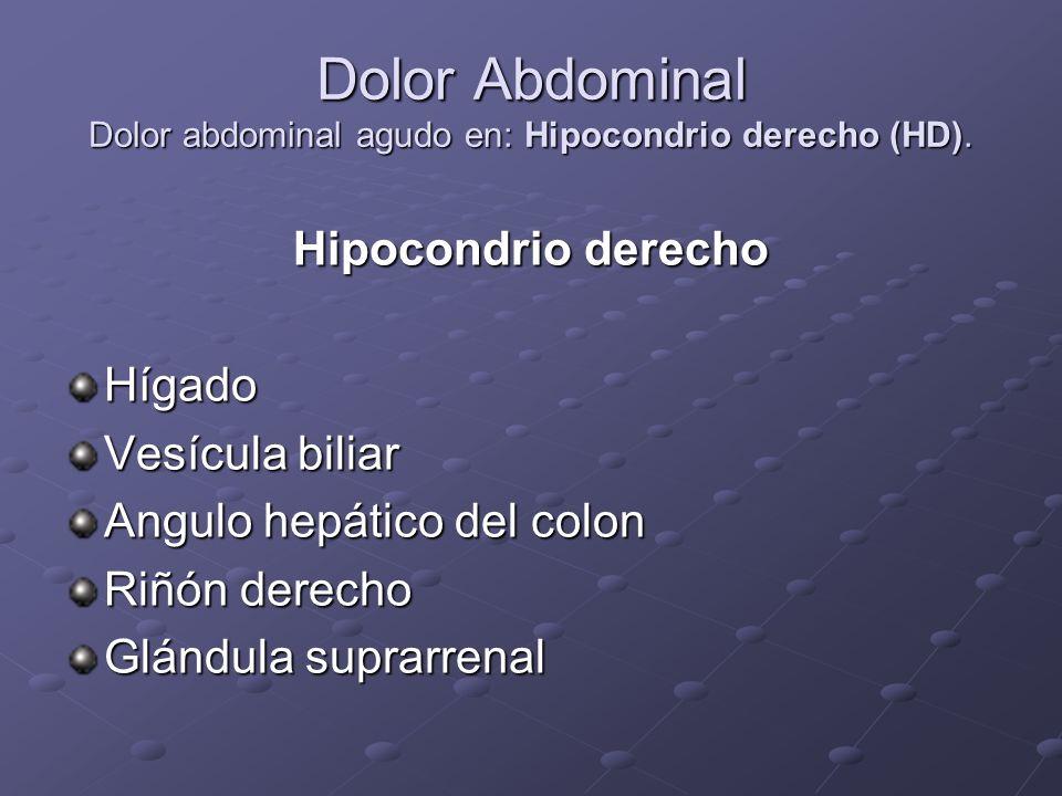 Dolor Abdominal Dolor abdominal agudo en: Hipocondrio derecho (HD).
