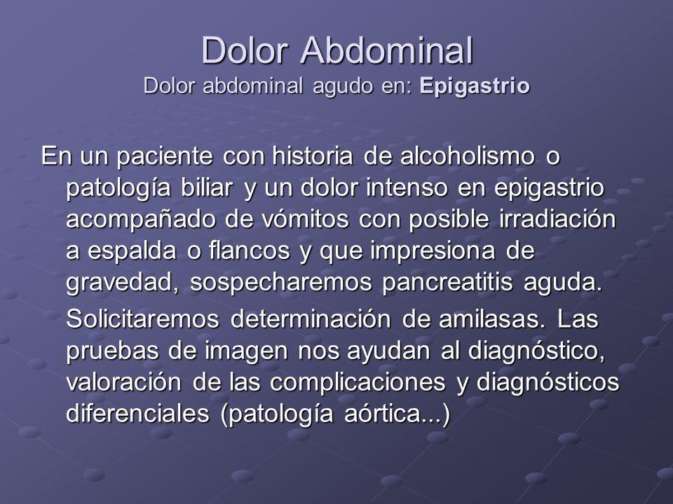 Dolor Abdominal Dolor abdominal agudo en: Epigastrio