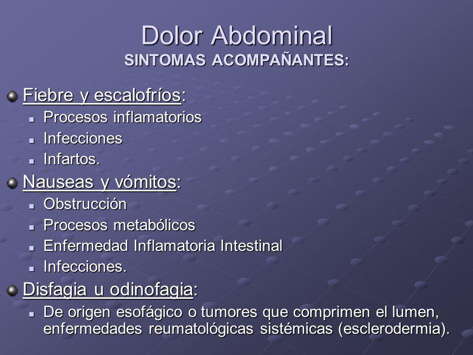 Dolor Abdominal SINTOMAS ACOMPAÑANTES: