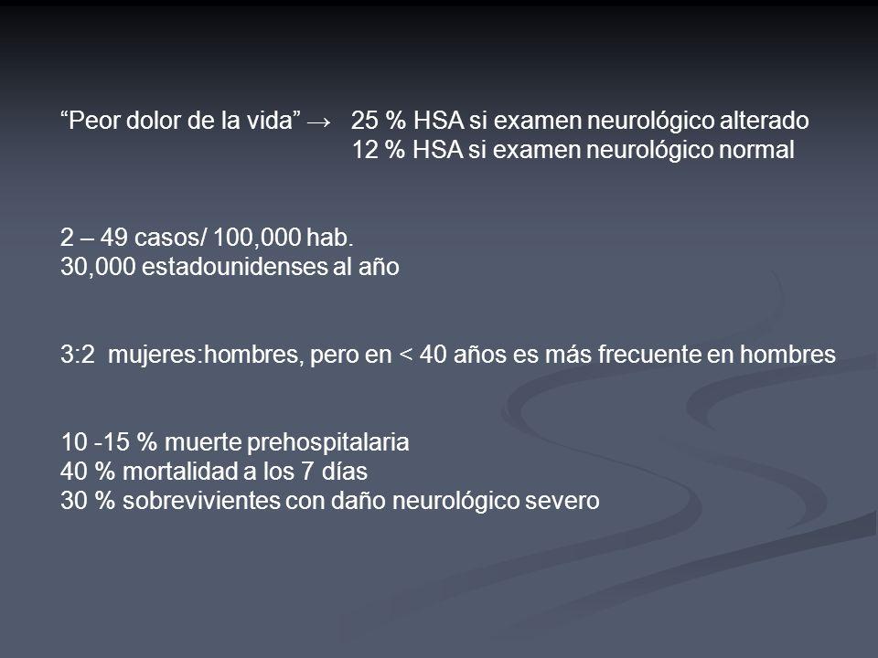 Peor dolor de la vida → 25 % HSA si examen neurológico alterado