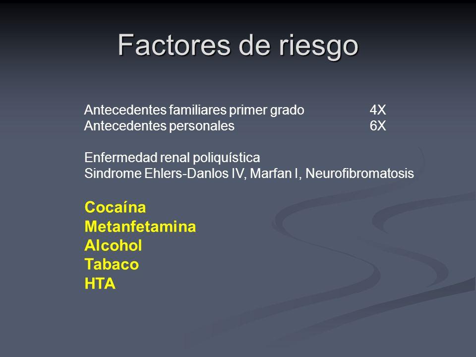 Factores de riesgo Cocaína Metanfetamina Alcohol Tabaco HTA