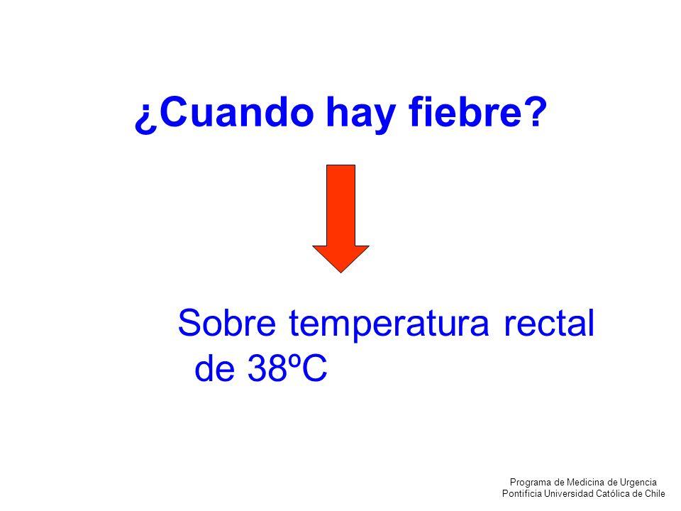 ¿Cuando hay fiebre Sobre temperatura rectal de 38ºC