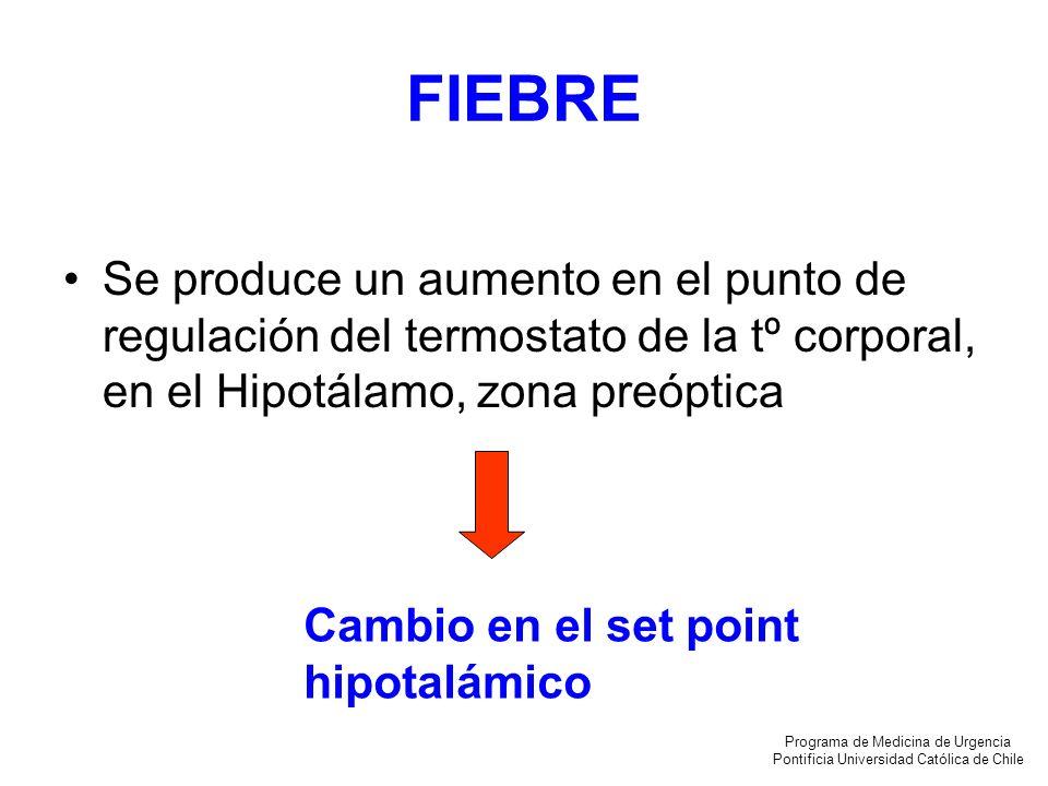FIEBRE Se produce un aumento en el punto de regulación del termostato de la tº corporal, en el Hipotálamo, zona preóptica.