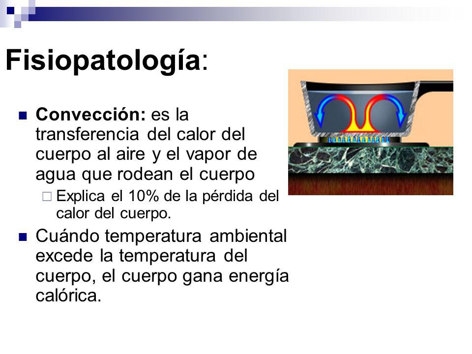 Fisiopatología: Convección: es la transferencia del calor del cuerpo al aire y el vapor de agua que rodean el cuerpo.