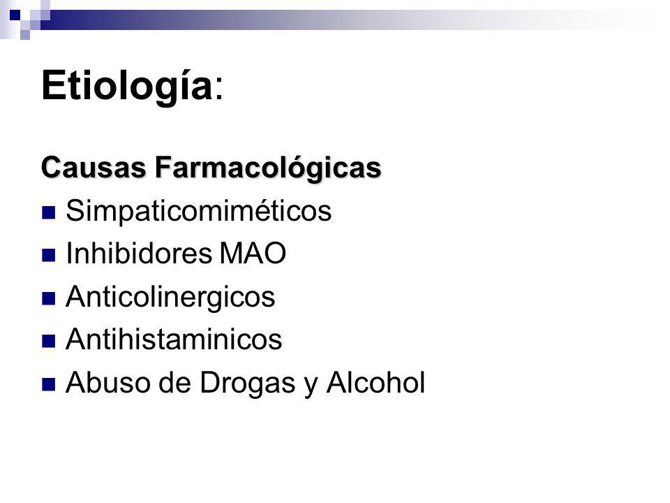 Etiología: Causas Farmacológicas Simpaticomiméticos Inhibidores MAO