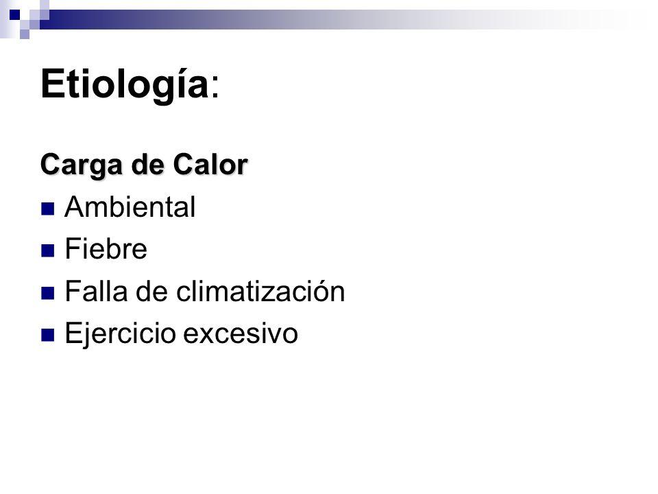 Etiología: Carga de Calor Ambiental Fiebre Falla de climatización