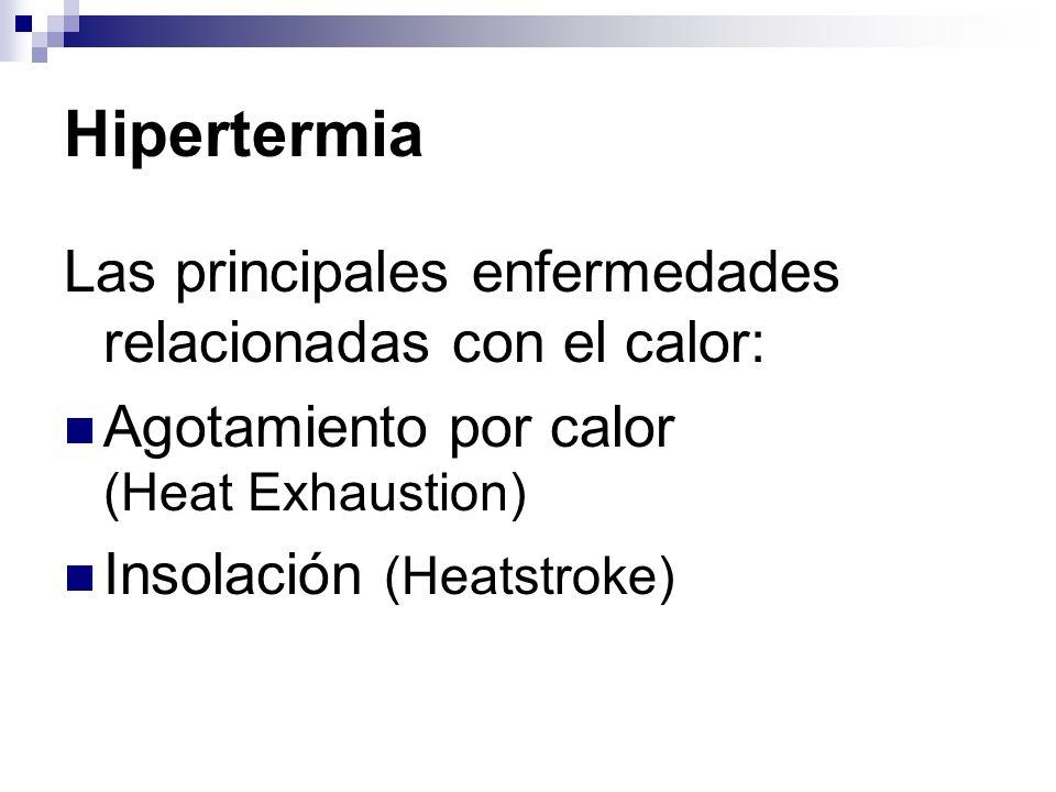 Hipertermia Las principales enfermedades relacionadas con el calor: