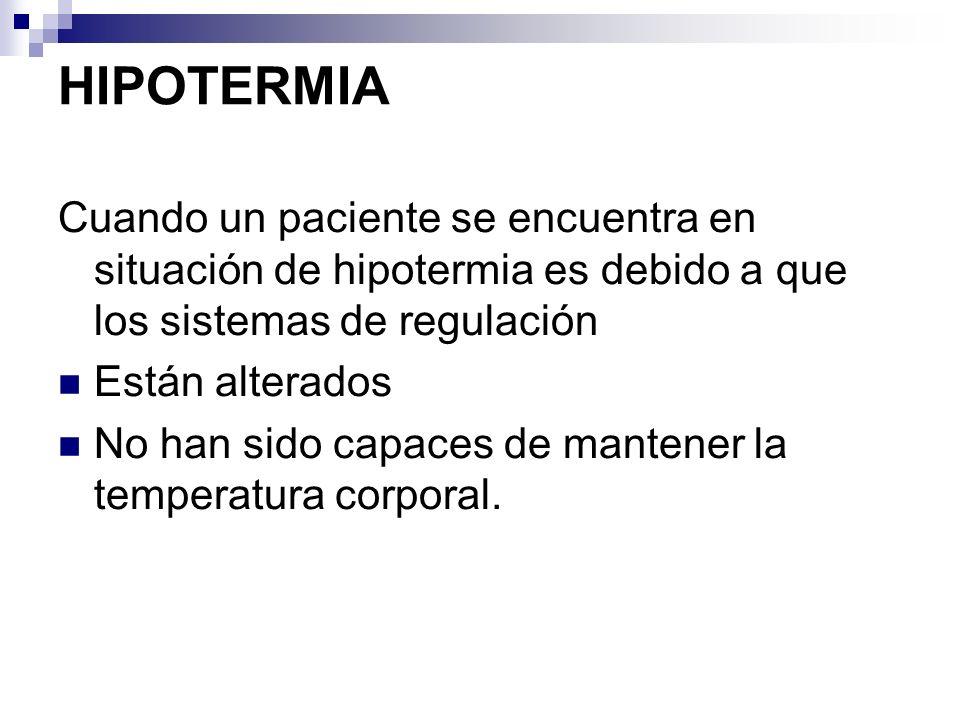 HIPOTERMIA Cuando un paciente se encuentra en situación de hipotermia es debido a que los sistemas de regulación.