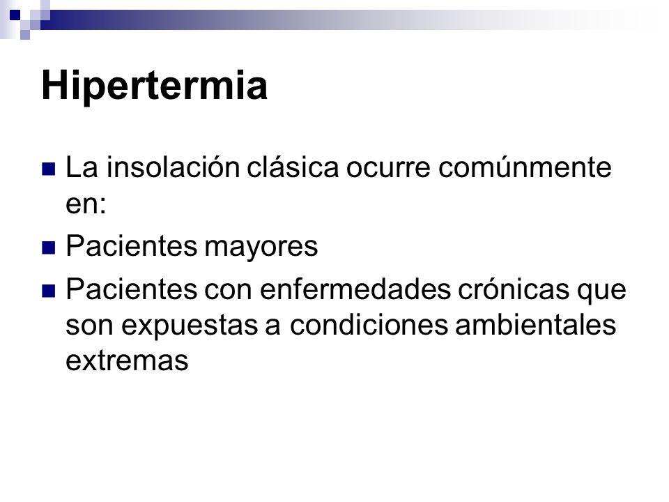 Hipertermia La insolación clásica ocurre comúnmente en: