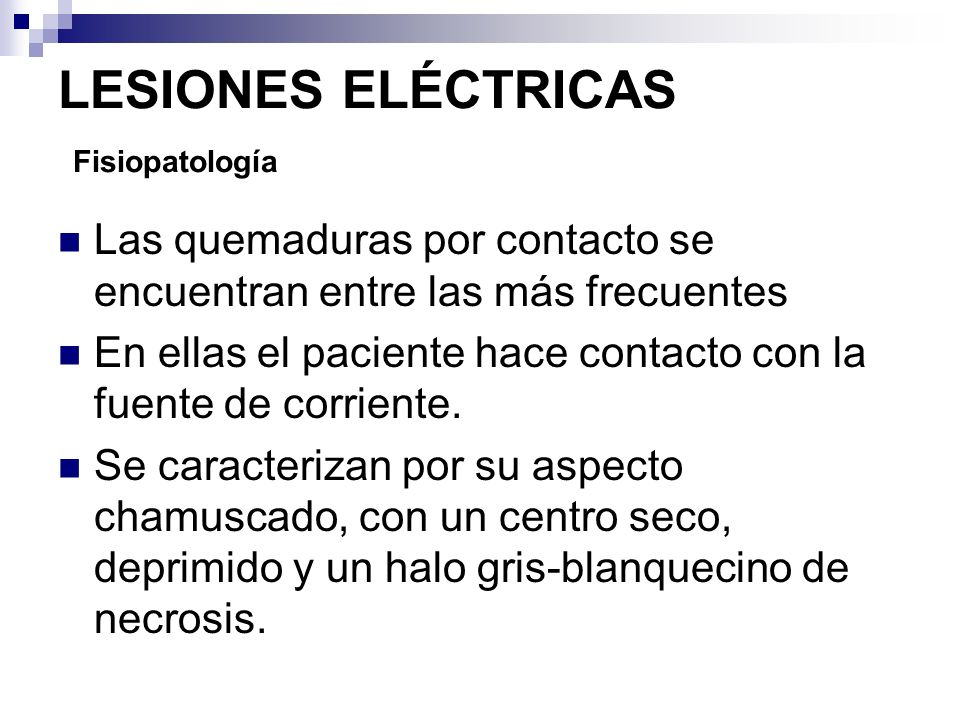 LESIONES ELÉCTRICAS Fisiopatología