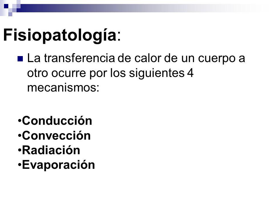 Fisiopatología: La transferencia de calor de un cuerpo a otro ocurre por los siguientes 4 mecanismos: