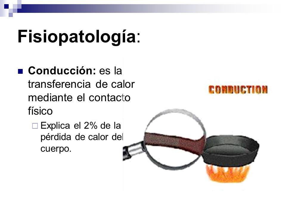 Fisiopatología:Conducción: es la transferencia de calor mediante el contacto físico.