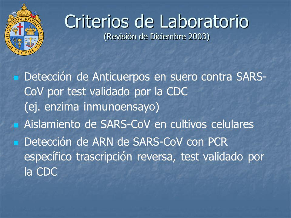 Criterios de Laboratorio (Revisión de Diciembre 2003)