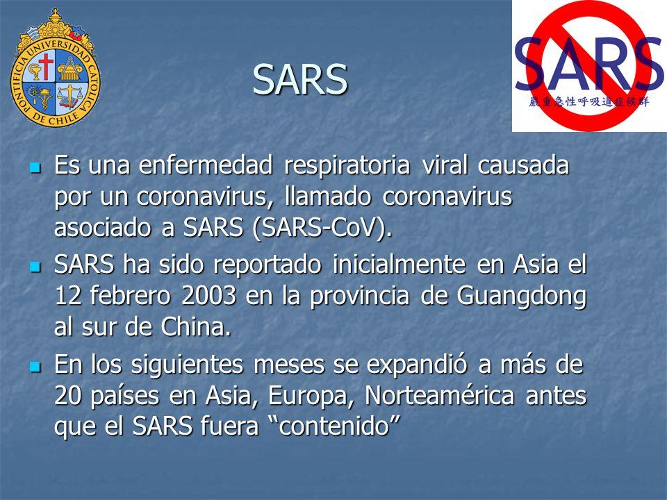 SARS Es una enfermedad respiratoria viral causada por un coronavirus, llamado coronavirus asociado a SARS (SARS-CoV).