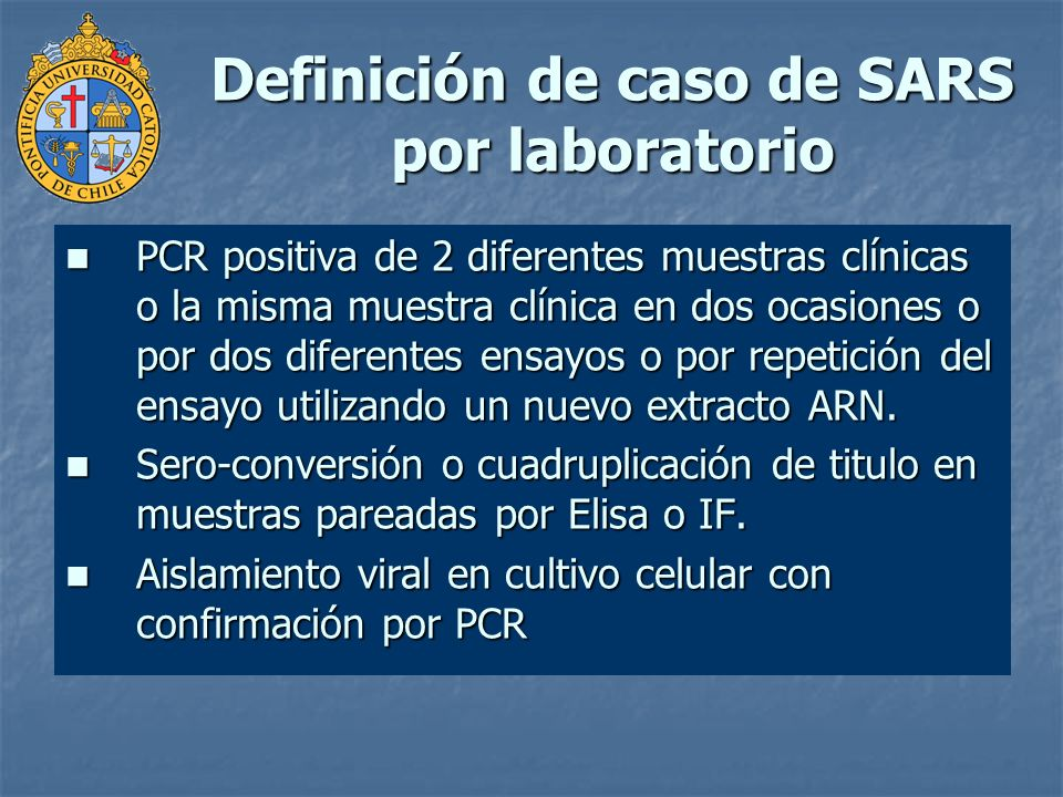 Definición de caso de SARS por laboratorio