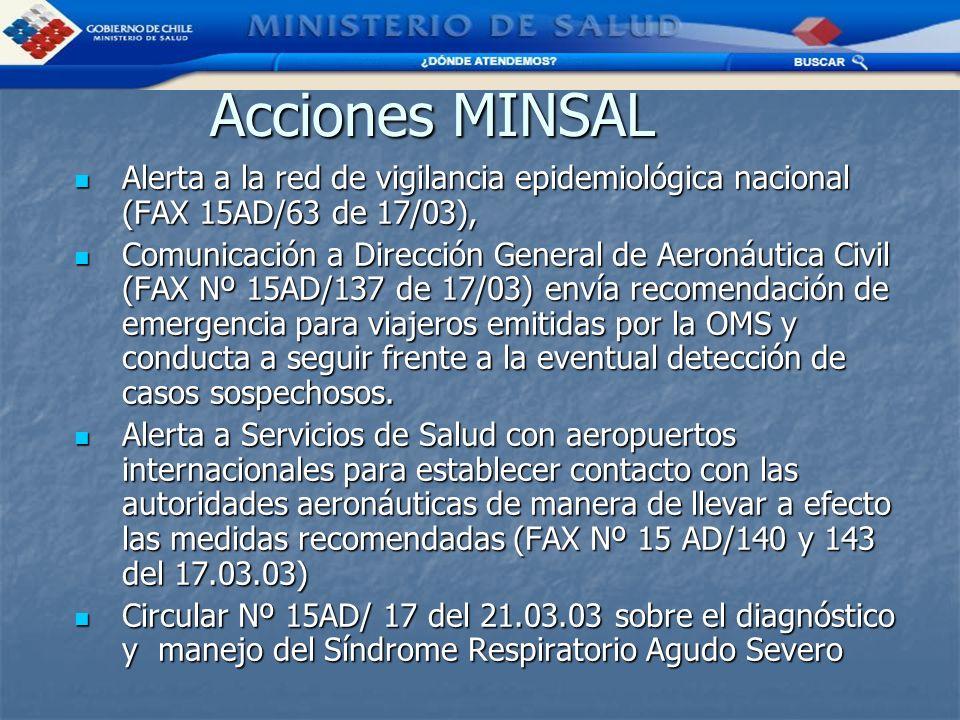 Acciones MINSAL Alerta a la red de vigilancia epidemiológica nacional (FAX 15AD/63 de 17/03),