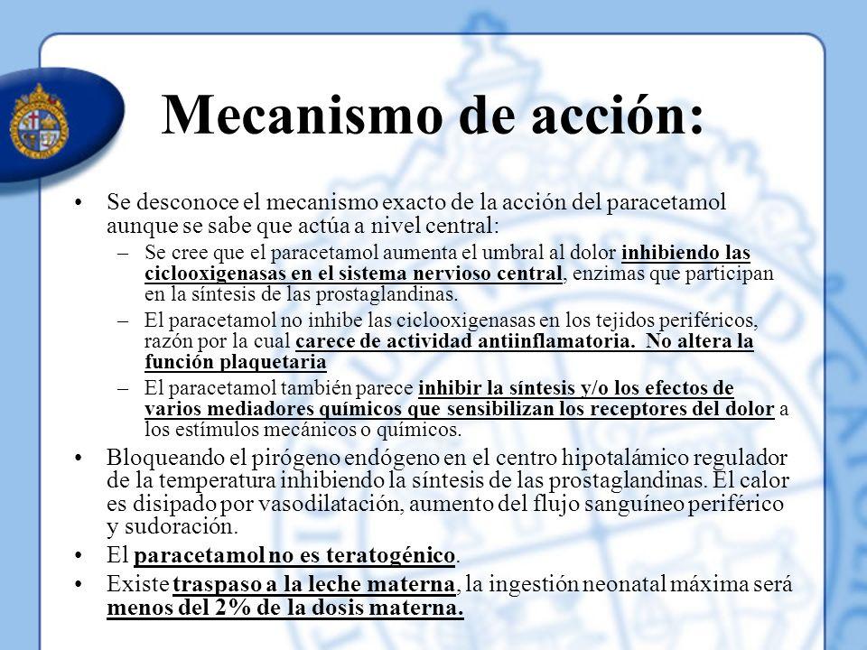 Mecanismo de acción: Se desconoce el mecanismo exacto de la acción del paracetamol aunque se sabe que actúa a nivel central: