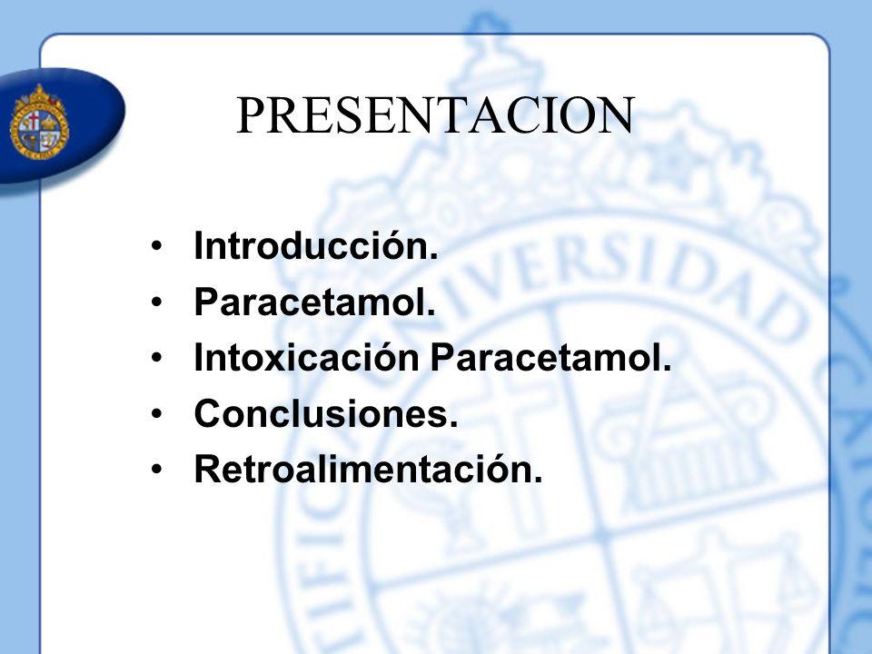 PRESENTACION Introducción. Paracetamol. Intoxicación Paracetamol.