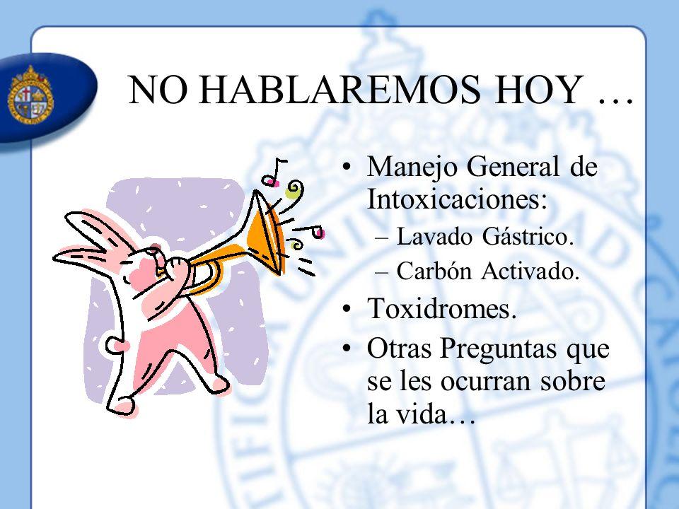 NO HABLAREMOS HOY … Manejo General de Intoxicaciones: Toxidromes.
