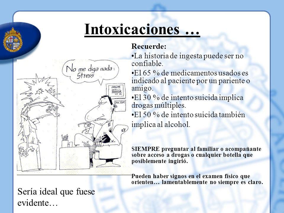 Intoxicaciones … Sería ideal que fuese evidente… Recuerde: