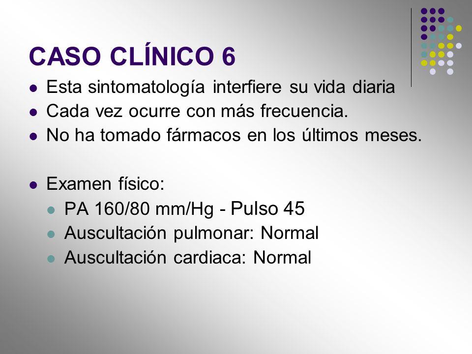 CASO CLÍNICO 6 Esta sintomatología interfiere su vida diaria