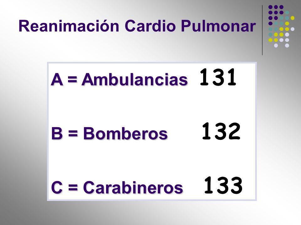 A = Ambulancias 131 B = Bomberos 132 C = Carabineros 133