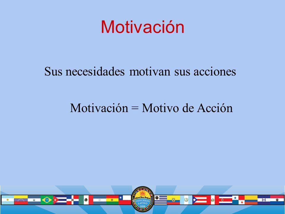 Motivación Sus necesidades motivan sus acciones