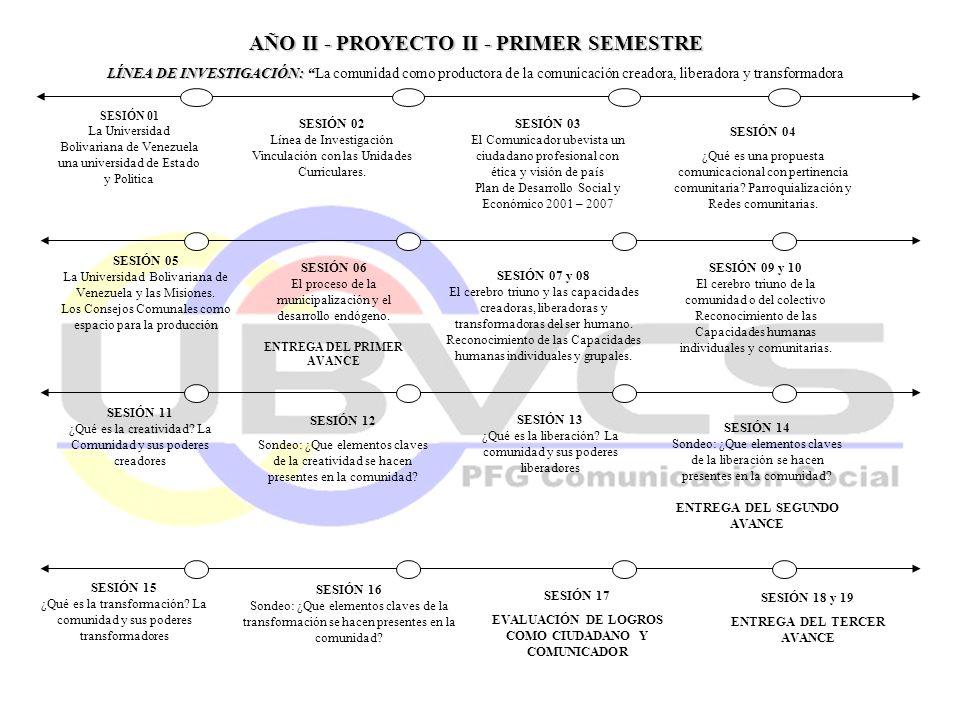 AÑO II - PROYECTO II - PRIMER SEMESTRE