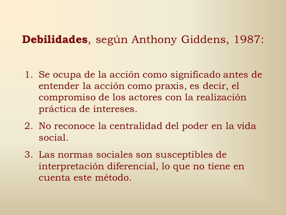 Debilidades, según Anthony Giddens, 1987: