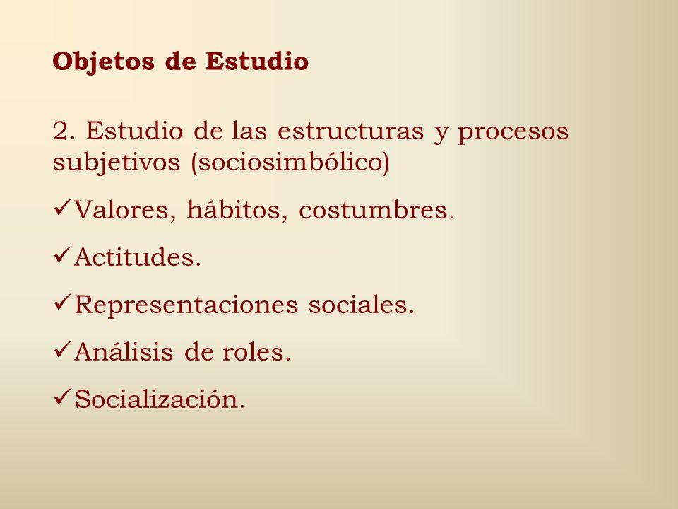 Objetos de Estudio 2. Estudio de las estructuras y procesos subjetivos (sociosimbólico) Valores, hábitos, costumbres.