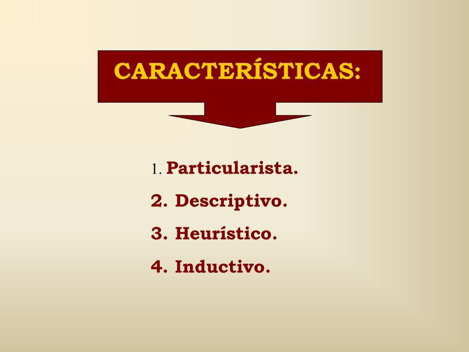 CARACTERÍSTICAS: 2. Descriptivo. 3. Heurístico. 4. Inductivo.