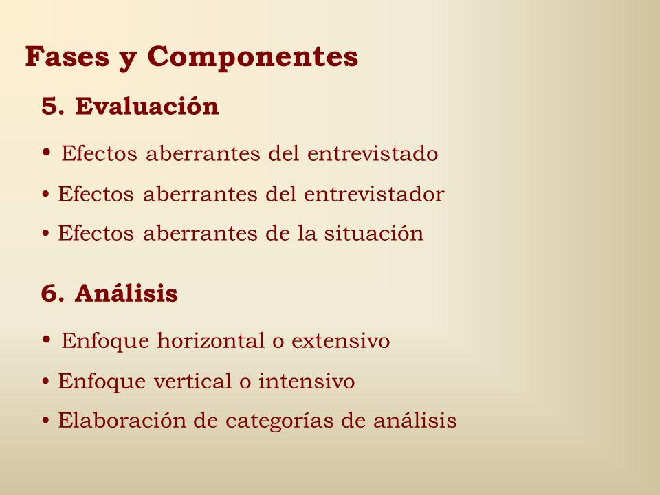 Fases y Componentes 5. Evaluación Efectos aberrantes del entrevistado