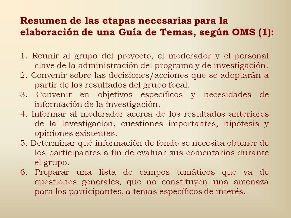 Resumen de las etapas necesarias para la elaboración de una Guía de Temas, según OMS (1):