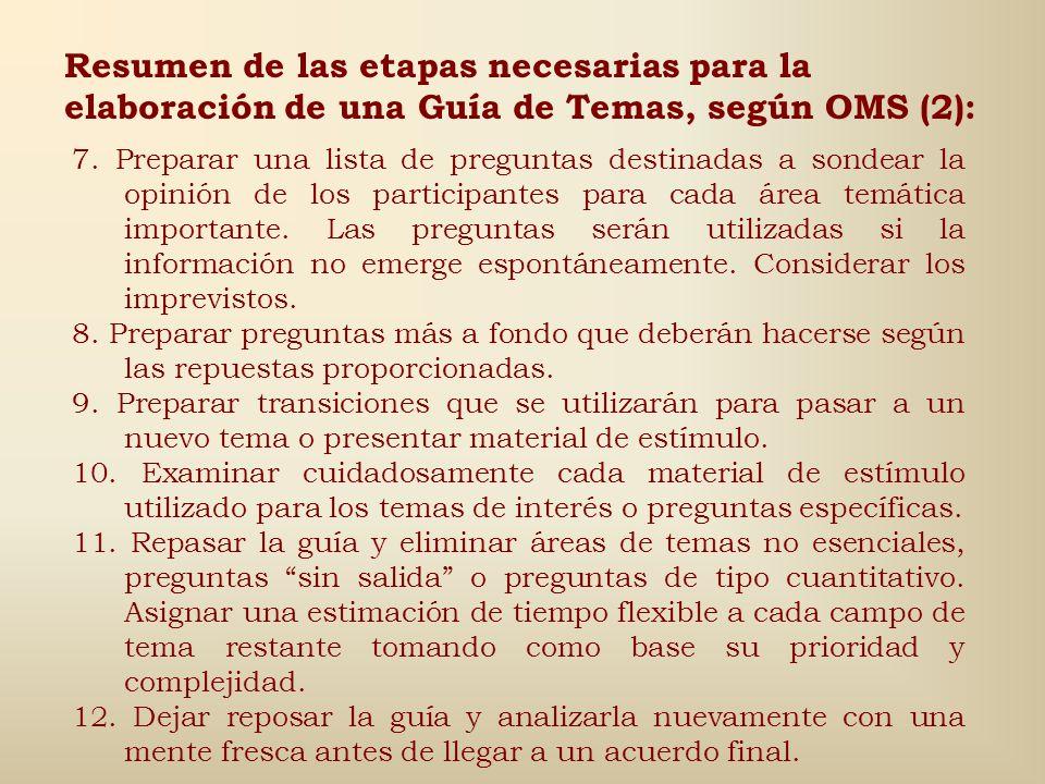 Resumen de las etapas necesarias para la elaboración de una Guía de Temas, según OMS (2):